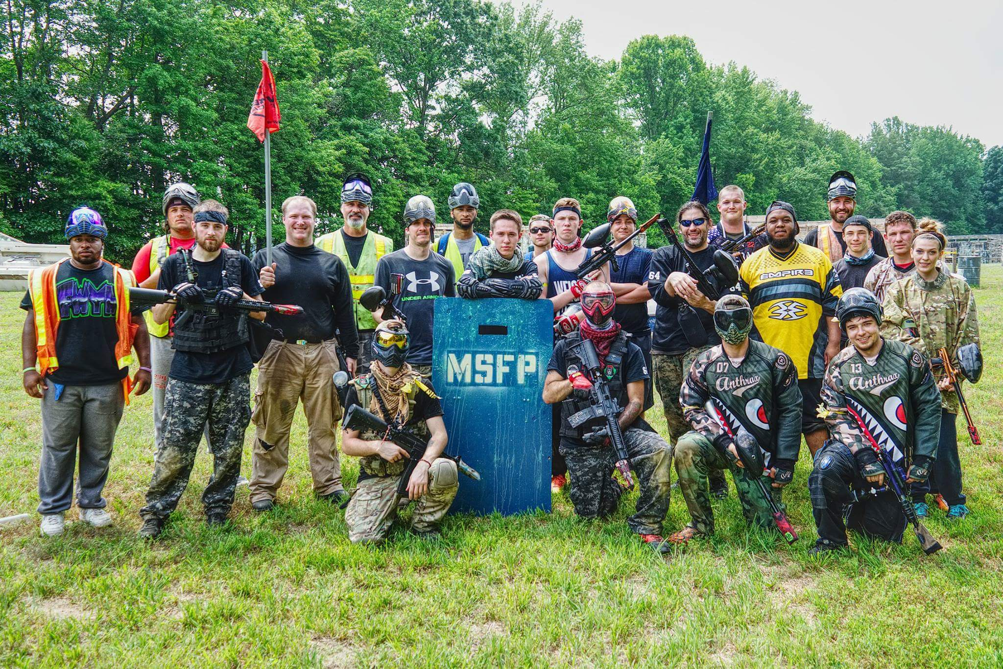 Group photo of players at Maple Shade Farm Paintball